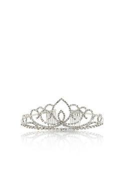 Rhinestone Tiara Crown - SILVER - 1131067251268