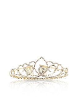 Rhinestone Tiara Crown - GOLD - 1131067251268