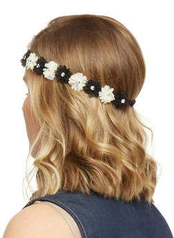 Floral Crown Head Band with Rhinestone Accents - 1131067253870