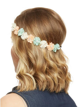 Floral Crown Head Band with Rhinestone Accents - MINT - 1131067253870
