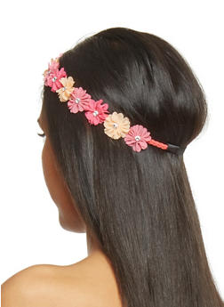 Floral Crown Head Band with Rhinestone Accents - PEACH - 1131067253870