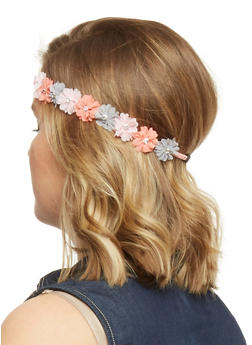 Floral Crown Head Band with Rhinestone Accents - GREY - 1131067253870