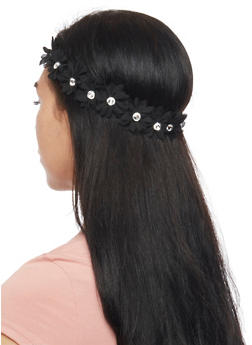 Stretch Floral Headband with Rhinestone Accents - 1131067259603