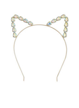 Rhinestone Trimmed Cat Ear Headband - 1131073282697
