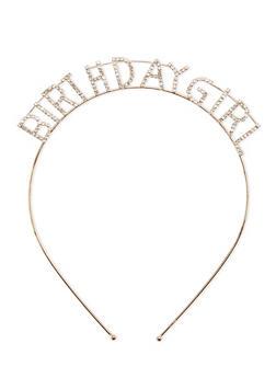 Rhinestone BIRTHDAY GIRL Metal Headband - GOLD - 1131073282732