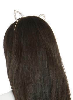 Metallic Rhinestone Cat Ear Headband - 1131073845577
