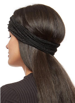Convertible Shimmer Knit Headwrap - BLACK - 1131074171517