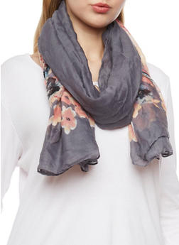 Square Floral Scarf - 1132067443015