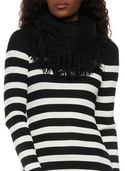 Infinity Scarf in Fringed Waffle Knit - BLACK - 1132067443618
