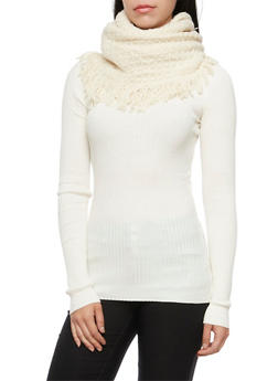 Infinity Scarf in Fringed Waffle Knit - IVORY - 1132067443618