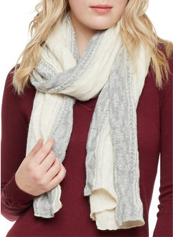 Knit Scarf with Border Print - 1132067443620