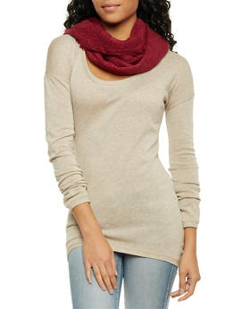Infinity Scarf in Textured Knit - BURGUNDY - 1132067443626
