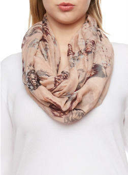 Feather Printed Infinity Scarf - 1132067446051