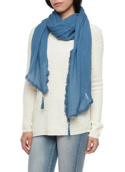 Tassel Gauze Scarf with Crochet - DENIM - 1132067446080