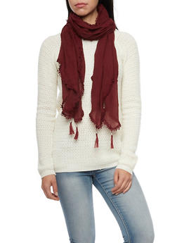 Tassel Gauze Scarf with Crochet - BURGUNDY - 1132067446080