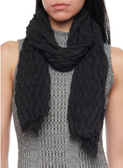 Crinkled Scarf with Fringe Trim - BLACK - 1132067446083