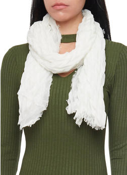 Crinkled Scarf with Fringe Trim - IVORY - 1132067446083