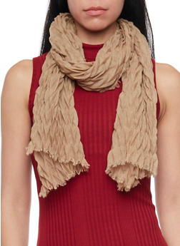 Crinkled Scarf with Fringe Trim - TAUPE - 1132067446083