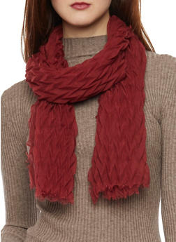 Crinkled Scarf with Fringe Trim - BURGUNDY - 1132067446083