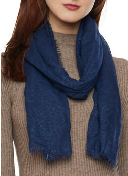 Linen Scarf with Subtle Animal Print - NAVY - 1132067446084