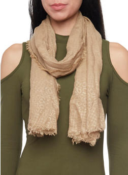 Linen Scarf with Subtle Animal Print - TAUPE - 1132067446084