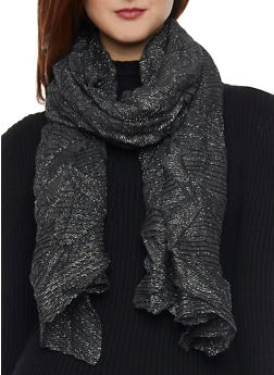 Crinkled Shimmer Knit Scarf - BLACK - 1132067446085