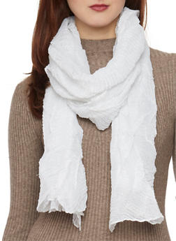 Crinkled Shimmer Knit Scarf - W WHITE - 1132067446085