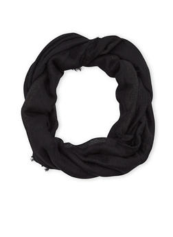 Fringe Gauze Infinity Scarf with Shimmer Stripes - BLACK - 1132067446086