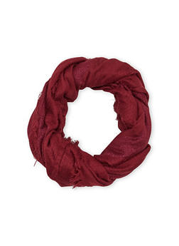 Fringe Gauze Infinity Scarf with Shimmer Stripes - BURGUNDY - 1132067446086