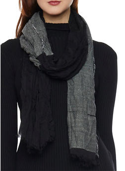 Color Block Scarf with Fringe Trim - BLACK - 1132067446087