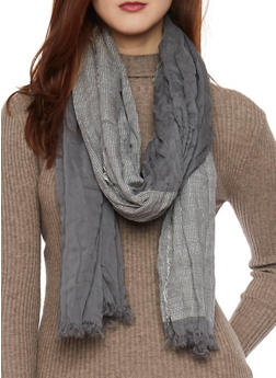 Color Block Scarf with Fringe Trim - GRAY - 1132067446087