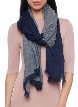 Color Block Scarf with Fringe Trim - NAVY - 1132067446087