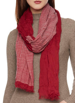 Color Block Scarf with Fringe Trim - RED - 1132067446087