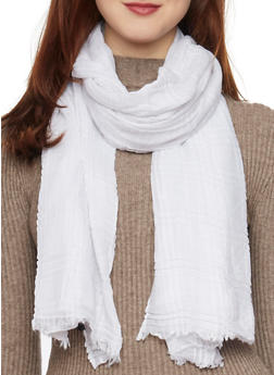 Solid Scarf with Fringe - W WHITE - 1132067446088