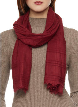 Solid Scarf with Fringe - BURGUNDY - 1132067446088