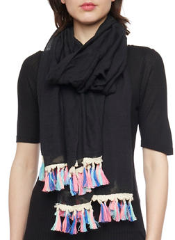 Neon Tasseled Square Scarf - 1132067447009