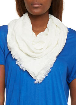 Square Mesh Scarf with Frayed Edges - 1132067447011
