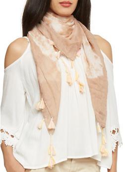 Square Tie Dye Scarf with Tassel Fringe - TAN - 1132067447013