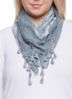 Square Tie Dye Scarf with Tassel Fringe - GREY - 1132067447013