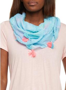 Square Tie Dye Scarf with Tassel Fringe - BLUE - 1132067447013