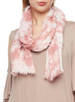 Frayed Tie Dye Scarf - MAUVE - 1132067447014