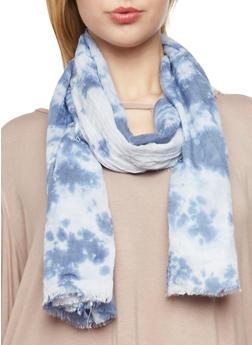 Frayed Tie Dye Scarf - BLUE - 1132067447014