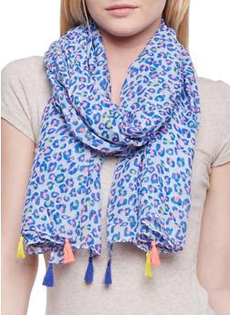 Neon Tassel Leopard Print Scarf - 1132067447025