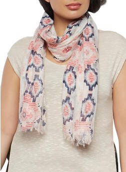 Gauze Knit Aztec Print Scarf - 1132067448008