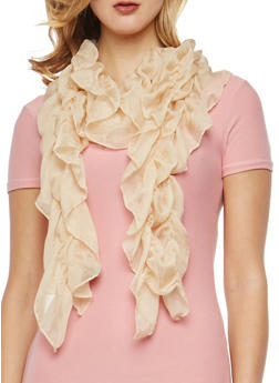 Solid Ruched Scarf - 1132067448017