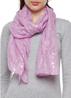 Metallic Star Embossed Lightweight Scarf - LILAC - 1132067448041