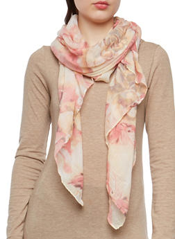 Large Floral Print Lightweight Scarf - 1132067448042