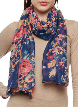 Lightweight Floral Scarf - 1132067448045