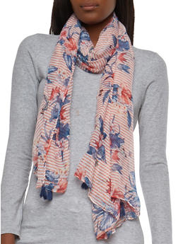 Striped Floral Scarf - 1132074391201