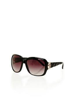 Square Sunglasses with Textured Arms - BLACK - 1133004264695
